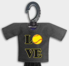 Pre Designed Mini Jersey Love Front View With Dugout Gear Hanger Black