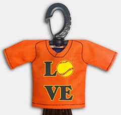 Pre Designed Mini Jersey Love Front View With Dugout Gear Hanger Orange