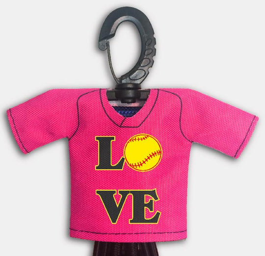 Pre Designed Mini Jersey Love Front View With Dugout Gear Hanger Pink