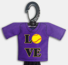 Pre Designed Mini Jersey Love Front View With Dugout Gear Hanger Purple