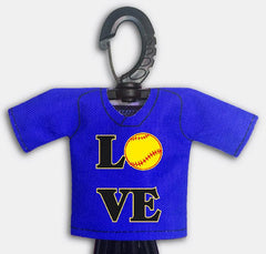 Pre Designed Mini Jersey Love Front View With Dugout Gear Hanger Blue