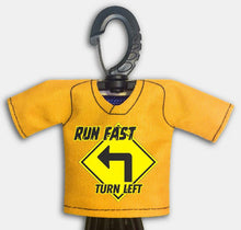 Load image into Gallery viewer, Predesigned Mini Jersey Run Fast Turn Left Front View With Dugout Gear Hanger Yellow