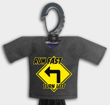 Load image into Gallery viewer, Predesigned Mini Jersey Run Fast Turn Left Front View With Dugout Gear Hanger Black