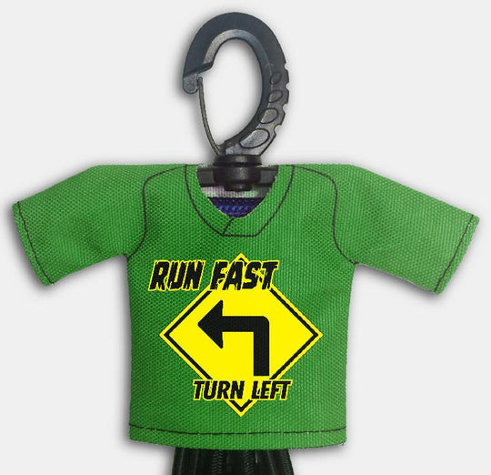 Predesigned Mini Jersey Run Fast Turn Left Front View With Dugout Gear Hanger Green