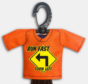 Predesigned Mini Jersey Run Fast Turn Left Front View With Dugout Gear Hanger Orange