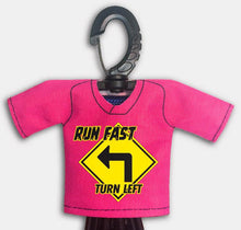 Load image into Gallery viewer, Predesigned Mini Jersey Run Fast Turn Left Front View With Dugout Gear Hanger Pink