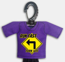 Load image into Gallery viewer, Predesigned Mini Jersey Run Fast Turn Left Front View With Dugout Gear Hanger Purple