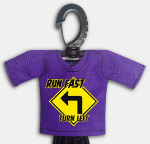 Predesigned Mini Jersey Run Fast Turn Left Front View With Dugout Gear Hanger Purple