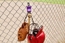 Load image into Gallery viewer, Purple Dugout Gear Hanger With Hanging Equipment