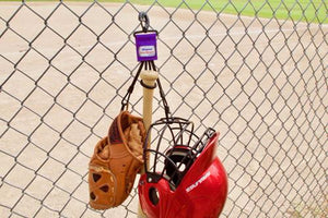 Purple Dugout Gear Hanger With Hanging Equipment