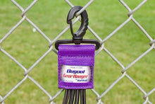 Load image into Gallery viewer, Purple Dugout Gear Hanger On Chain Link Fence Up Close
