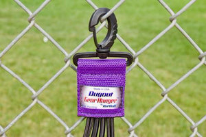 Purple Dugout Gear Hanger On Chain Link Fence Up Close