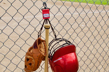 Load image into Gallery viewer, Red Dugout Gear Hanger With Hanging Equipment