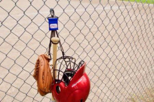 Royal Dugout Gear Hanger With Hanging Baseball and Softball Equipment