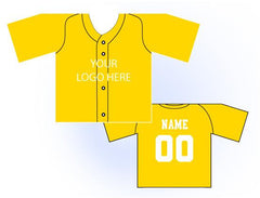 Solid Buttonup Mini Jersey Front and Back View Athletic Gold