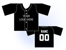 Load image into Gallery viewer, Solid Buttonup Mini Jersey Front and Back View Black