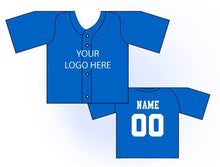 Load image into Gallery viewer, Solid Buttonup Mini Jersey Front and Back View Blue