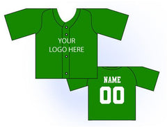 Solid Buttonup Mini Jersey Front and Back View Green