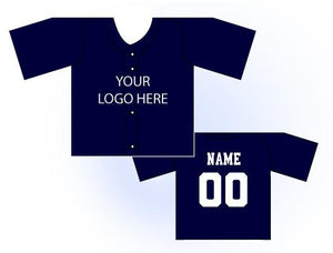 Solid Buttonup Mini Jersey Front and Back View Navy