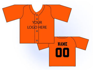 Solid Buttonup Mini Jersey Front and Back View Orange