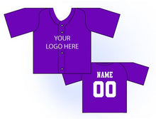 Load image into Gallery viewer, Solid Buttonup Mini Jersey Front and Back View Purple