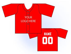 Solid Buttonup Mini Jersey Front and Back View Red
