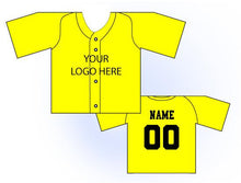 Load image into Gallery viewer, Solid Buttonup Mini Jersey Front and Back View Yellow