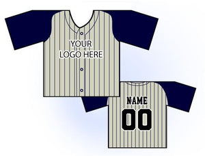 TwoTone Mini Jersey Front and Back View Cream and Navy
