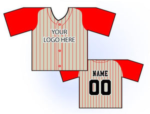 TwoTone Mini Jersey Front and Back View Cream and Red