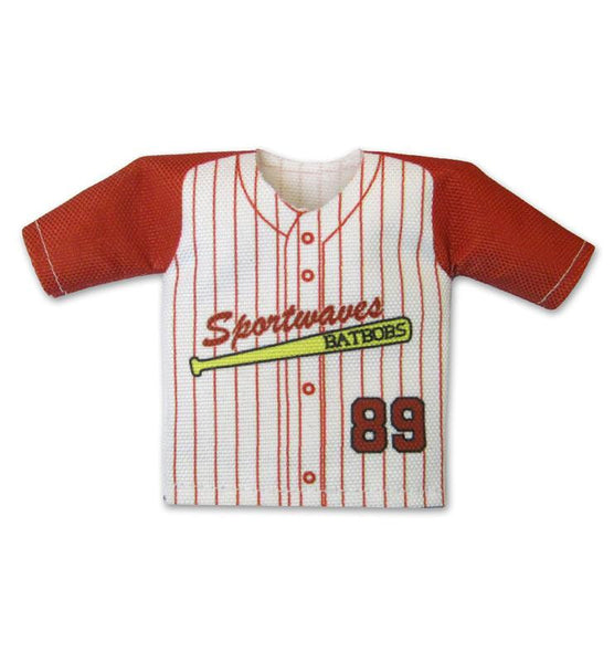 TwoTone Pin Stripe Mini Jersey Front View For Dugout Gear Hanger