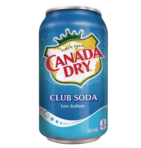 Canada Dry Club Soda 355mL Can, 12 Pack