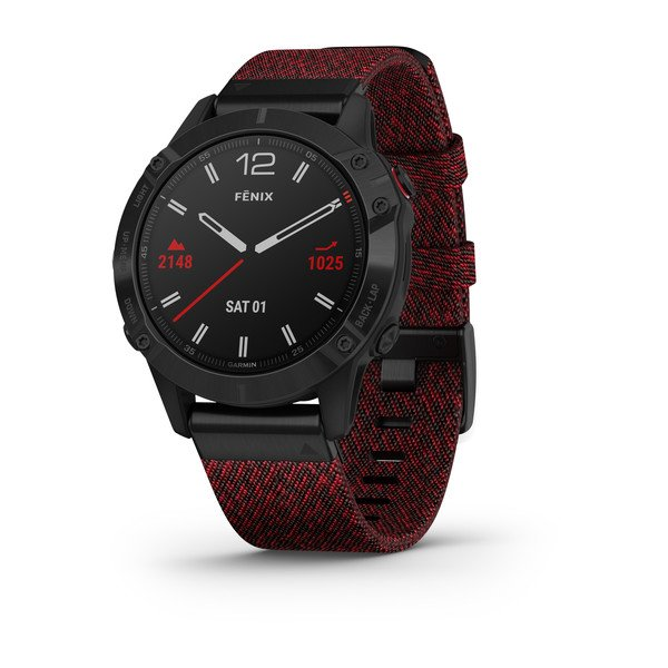 Garmin fēnix® 6 Series - Black with Heathered Red Nylon Band 47mm