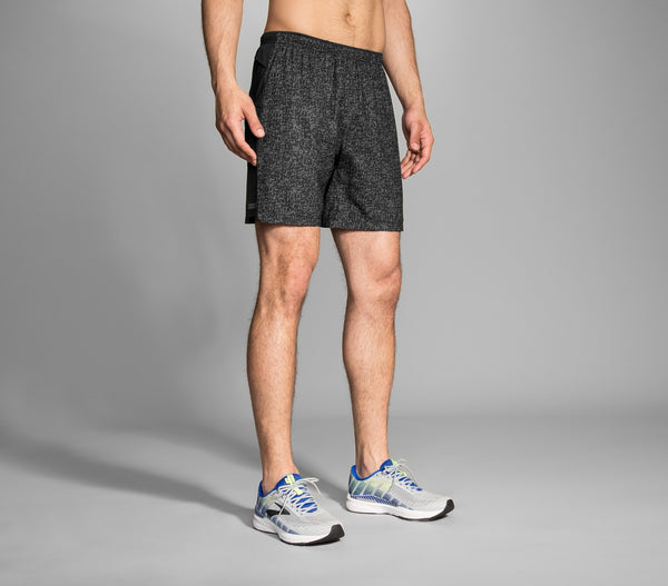 "Brooks Sherpa 7"" 2-in-1 Shorts Men's Black Static"