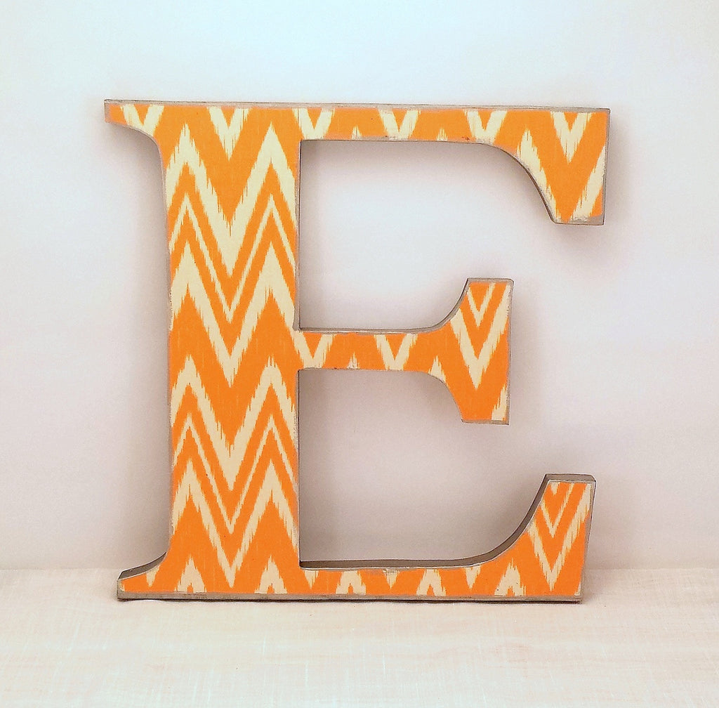 Letter E Wall Decor Letter E  Chevron Wall Letters  Annie Blue Home Decor