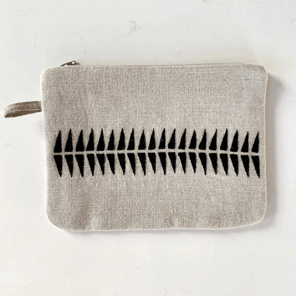 Hand Embroidered Linen Clutch