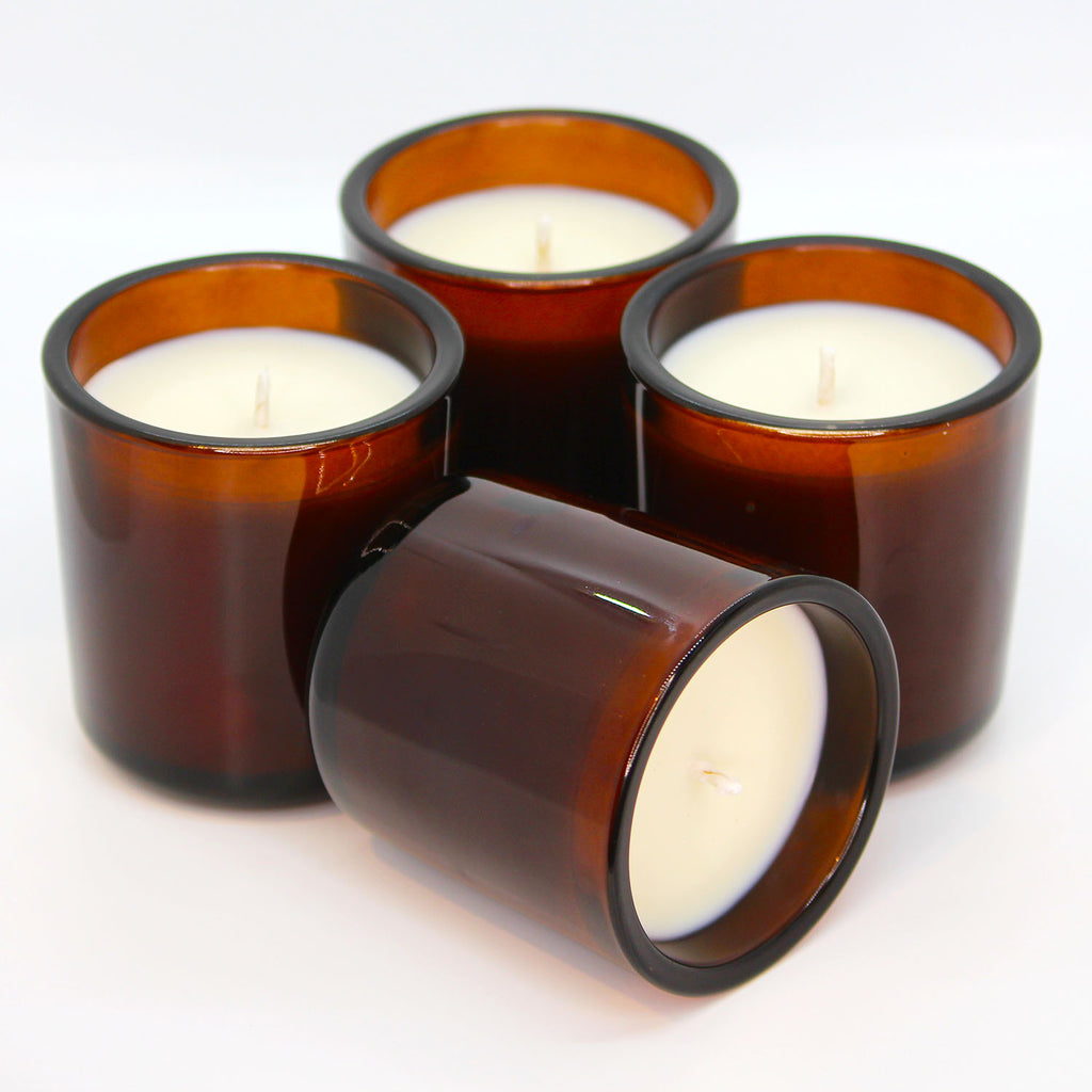 Custom Mid Century Amber Glass Candle - online only