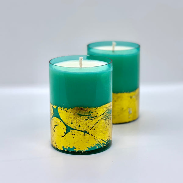 Spiced Vanilla Clementine Candle - Blue Gold Glass 12oz.