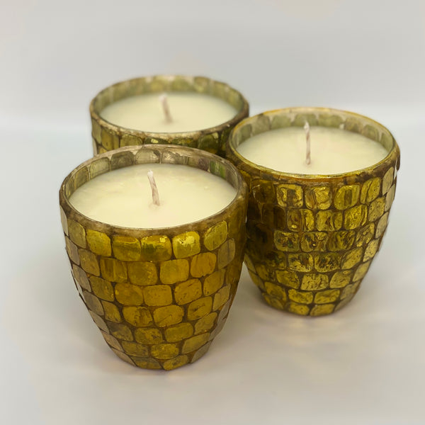 Golden Mosaic Glass Candle - Vintage