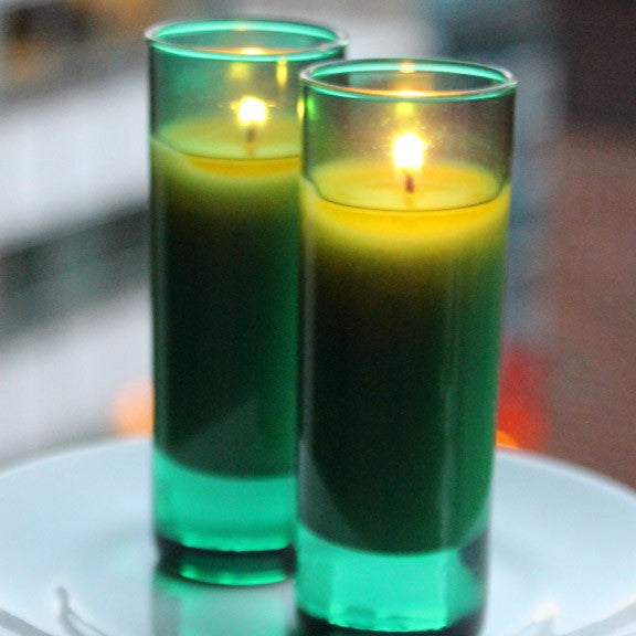 holiday votive candle - green shot glass