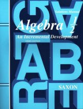 Saxon Math Algebra 1/2 Solutions Manual 3rd Edition - Yellow House Book Rental