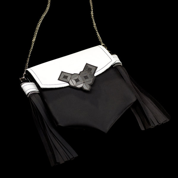 Doraya - mini clutch, white leather purse, stainless still, silver chain, black and white bag