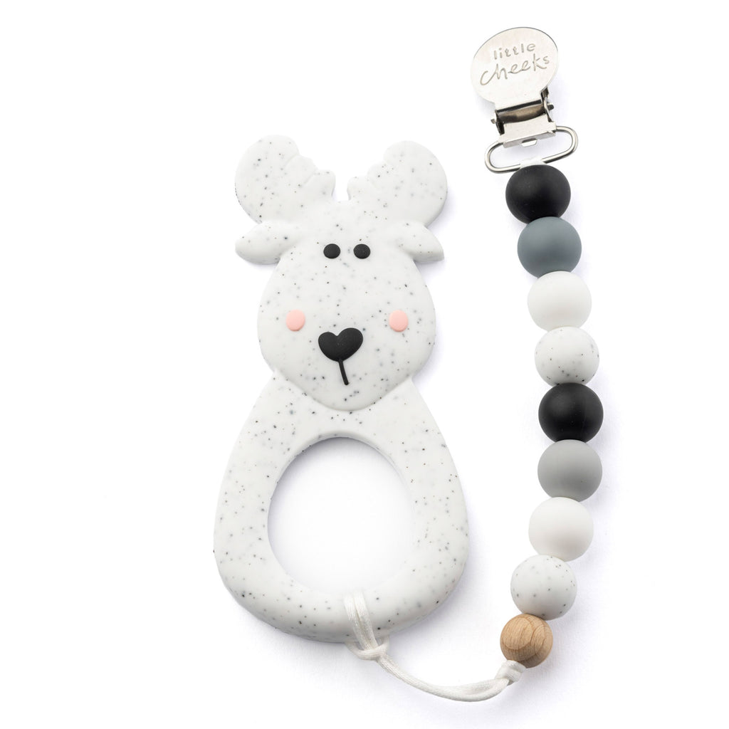 Little Cheeks Moose Teether With Clip