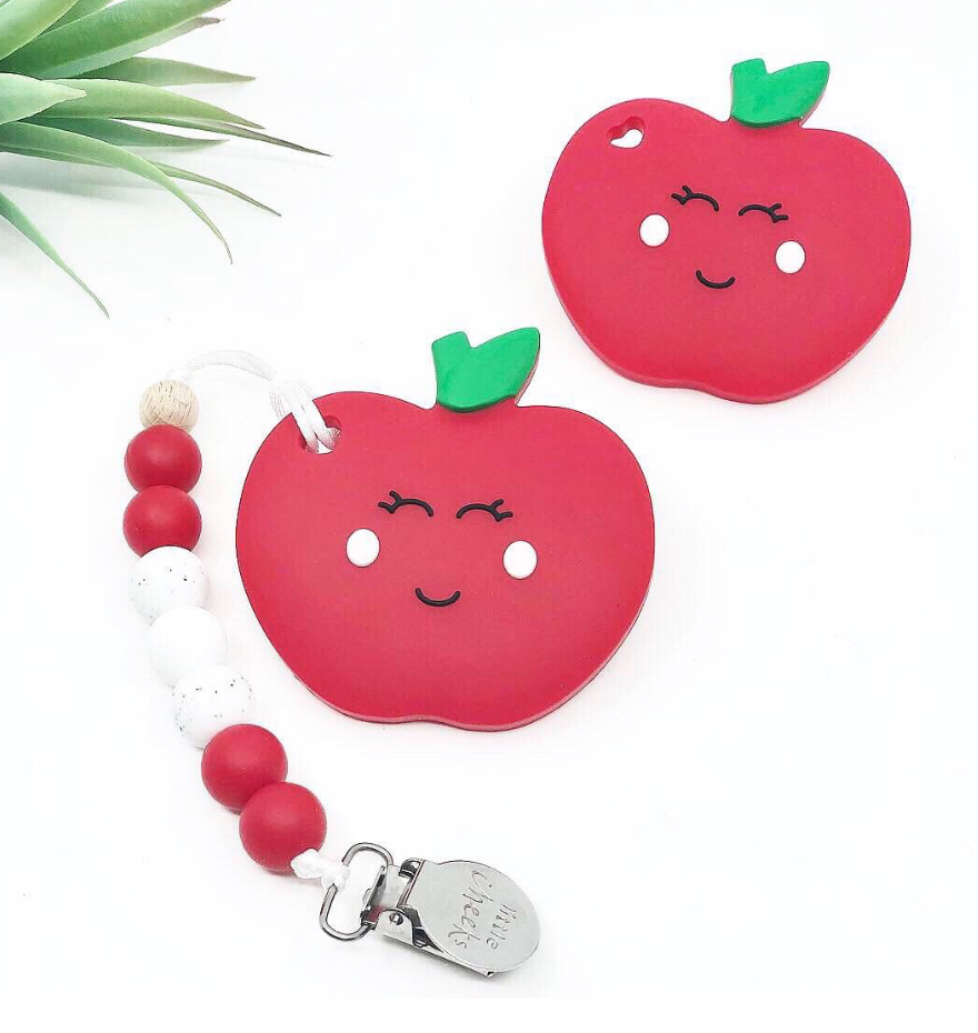 Little Cheeks Apple Teether with Clip