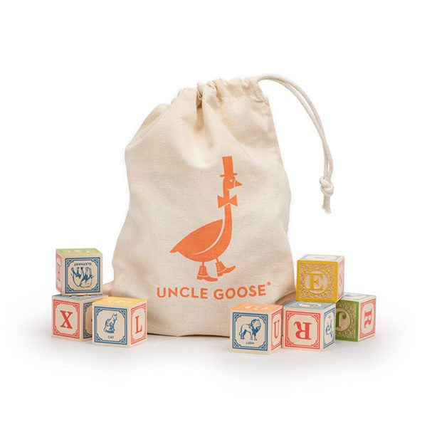 Uncle Goose Classic ABC Blocks with Canvas Bag
