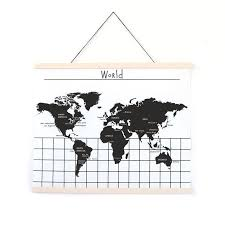 Gautier Studio Canvas Wall Hanging World Map