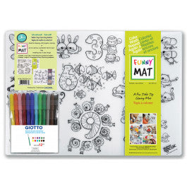 Funny Mat Colouring Mat 2Pk with 12 Giotte Markers