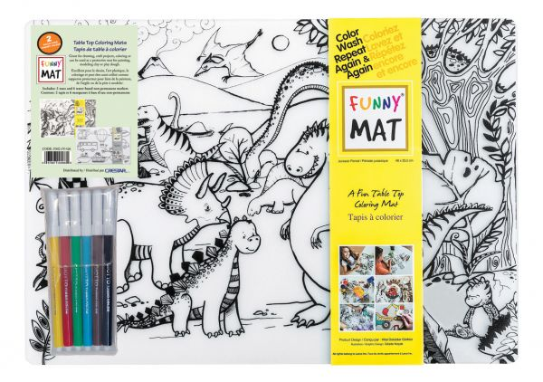 Funny Mat Colouring Mat 2Pk with 6 Giotte Markers