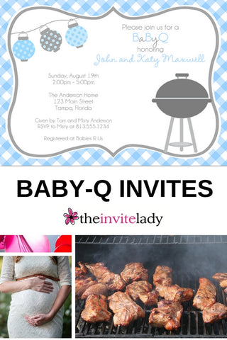 BABY-Q BLUE BABY SHOWER INVITATION BBQ Coed party