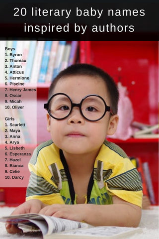 20 Baby names inspired by authors via theinvitelady.com including name ideas for boys and girls!