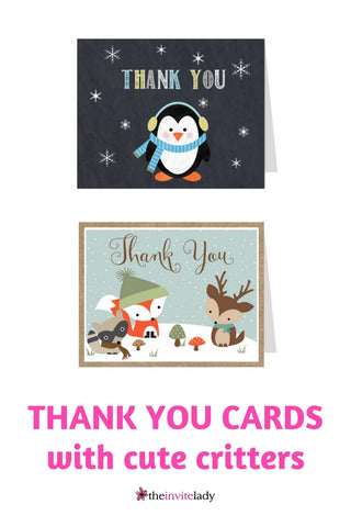Thank you cards cute critters winter snow penguin